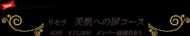 リセラ 美肌への扉コース 60分 ¥12,000 メンバー様割引あり