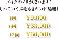 メイクのノリが違います!しつこいうぶ毛もきれいに処理!1回¥9,000  6回¥33,000  12回¥60,000